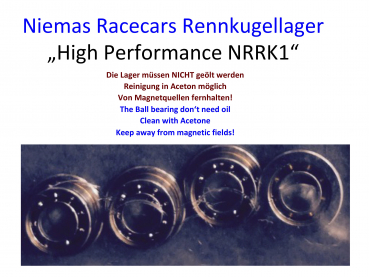 Niemas Racecars Rennkugellager High Performance NRRK1